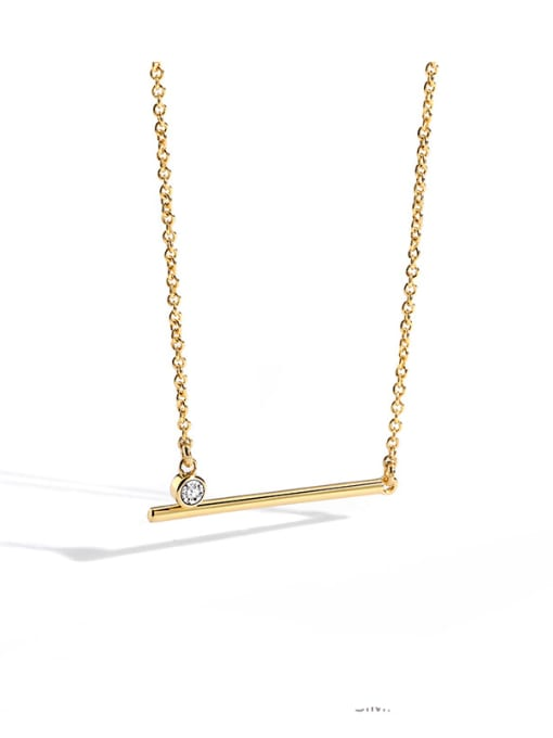 CHARME Brass Rhinestone Geometric Minimalist Necklace 0