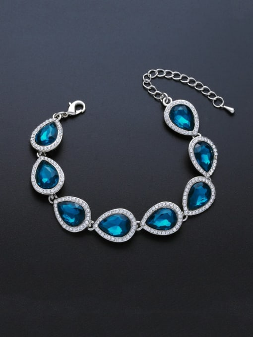 Silver Lake Blue Brass Glass Stone Water Drop Luxury Bracelet