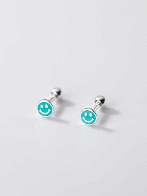 Rosh 925 Sterling Silver Enamel Smiley Minimalist Stud Earring 2