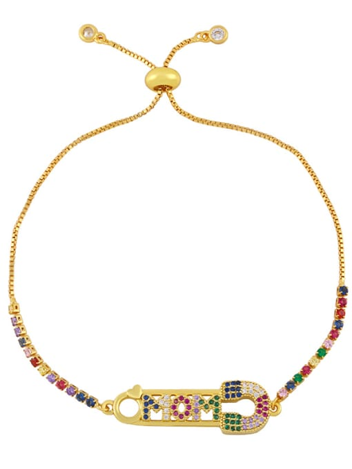 B Brass Cubic Zirconia Letter Vintage Woven Bracelet