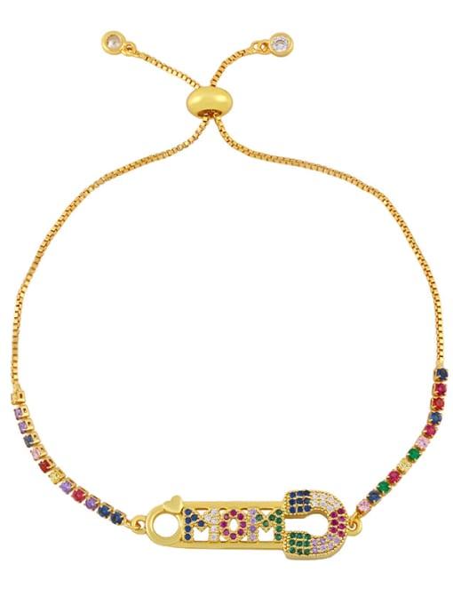 CC Brass Cubic Zirconia Letter Vintage Woven Bracelet 2