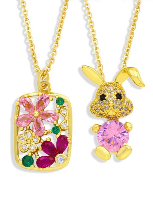 CC Brass Cubic Zirconia Flower Hip Hop Necklace 3