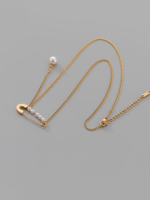 A TEEM Titanium Steel Imitation Pearl Geometric Minimalist Lariat Necklace