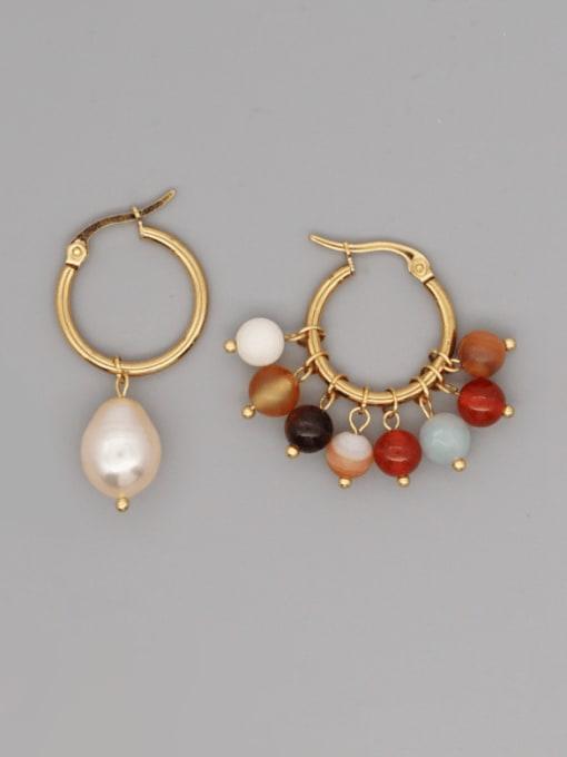 Roxi Stainless steel Freshwater Pearl Geometric Bohemia Huggie Earring