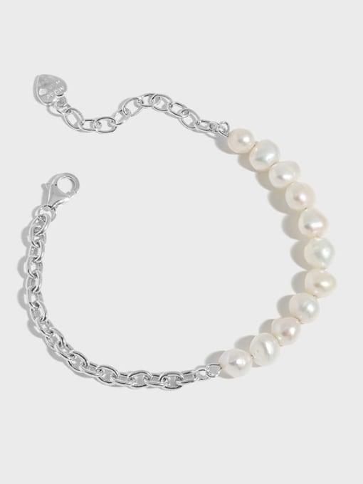 DAKA 925 Sterling Silver Imitation Pearl Geometric Vintage Link Bracelet