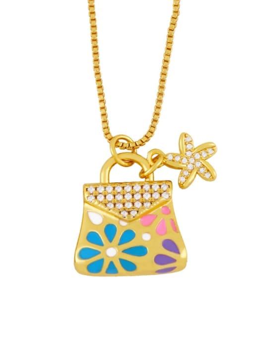 blue Brass Rhinestone Enamel Geometric Minimalist Necklace