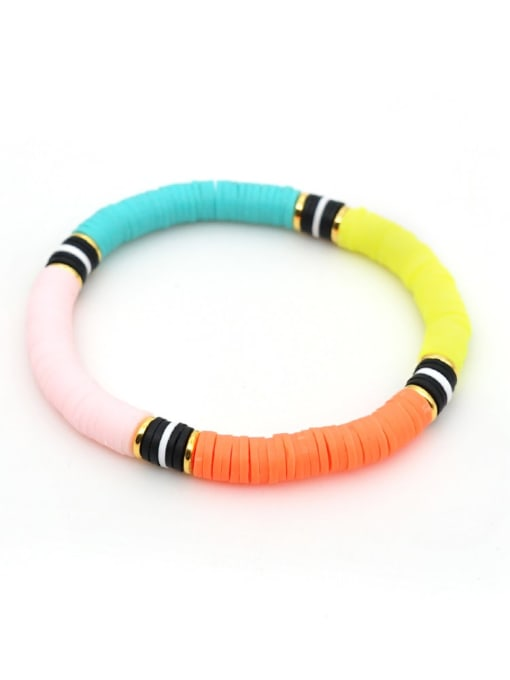 QT B200029D Stainless steel Multi Color Polymer Clay Letter Bohemia Stretch Bracelet