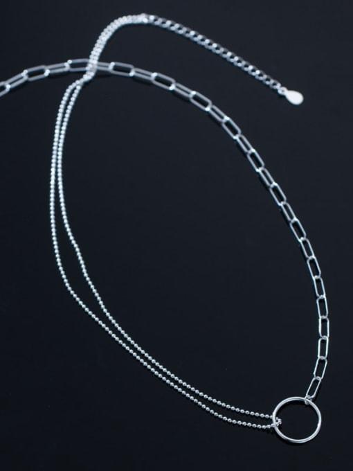 Rosh 925 Sterling Silver Round Minimalist Asymmetry Multi Strand Necklace