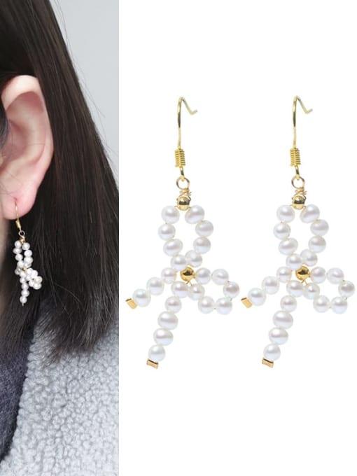 RAIN Brass Freshwater Pearl Bowknot Vintage Drop Earring 1