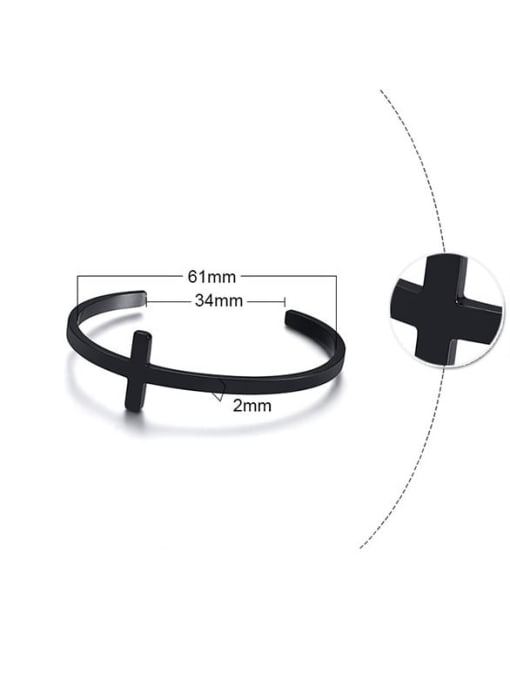 CONG Stainless steel  Smooth Cross Minimalist Cuff Bangle 2