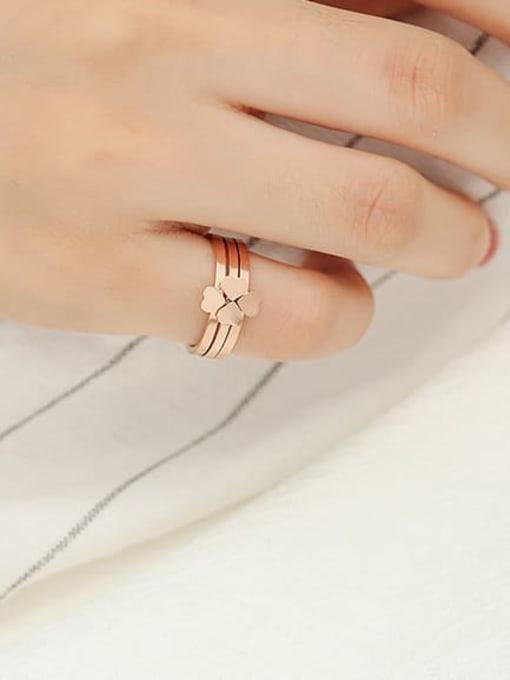 MIYA Titanium Steel Smooth  Clover Minimalist Stackable Ring 3