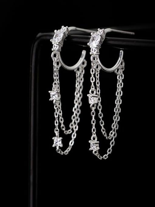 Rosh 925 Sterling Silver Cubic Zirconia Tassel Minimalist Huggie Earring 0
