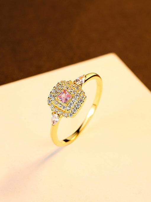 8# 925 Sterling Silver Cubic Zirconia Geometric Minimalist Band Ring