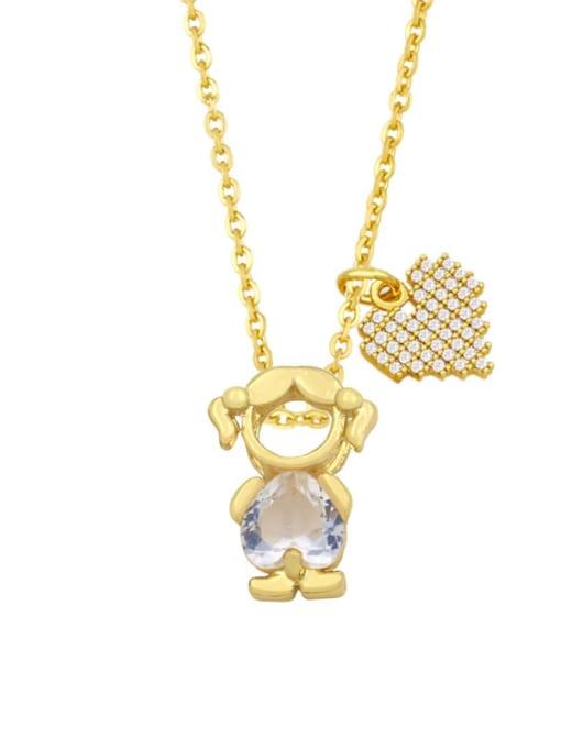 E (girl white) Brass Cubic Zirconia Enamel Angel Cute Necklace