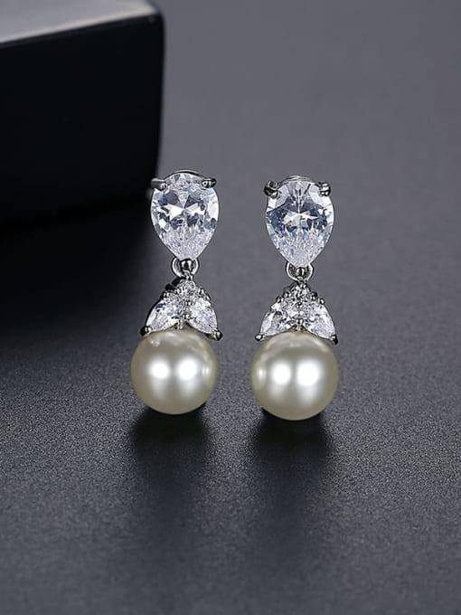 T06I07 Brass Cubic Zirconia Water Drop Minimalist Drop Earring