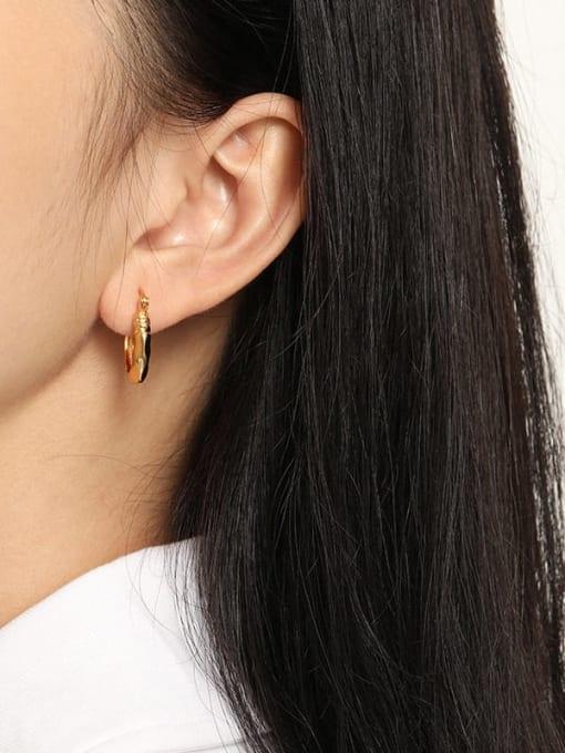 DAKA 925 Sterling Silver Hollow Geometric Vintage Huggie Earring 1