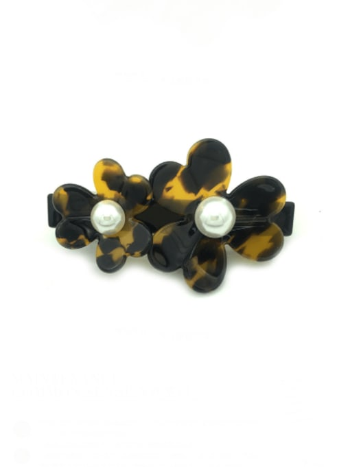 Deep hawksbill Cellulose Acetate Minimalist Flower Zinc Alloy Spring clip Hair Barrette