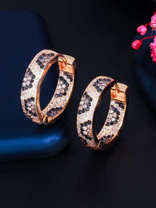 L.WIN Brass Cubic Zirconia Round Vintage Huggie Earring 3