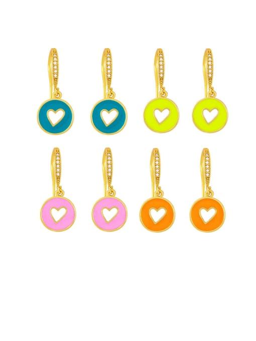CC Brass Enamel Heart Vintage Huggie Earring