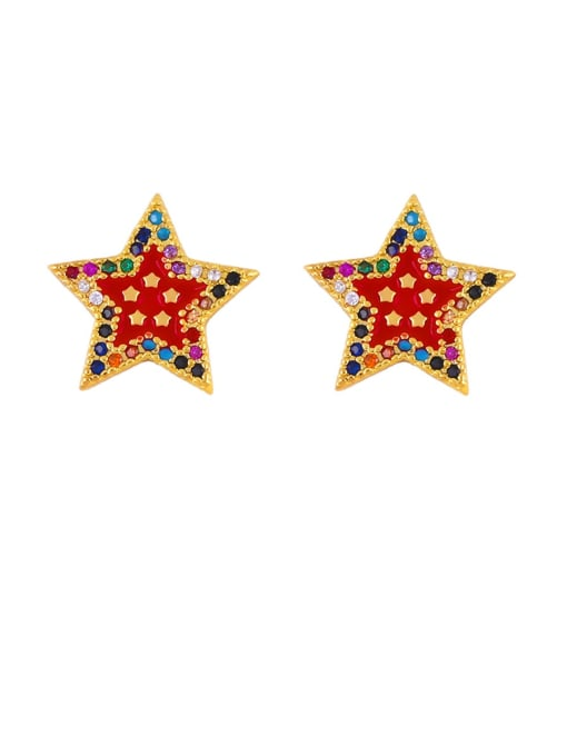 gules Brass Cubic Zirconia Star Classic Stud Earring