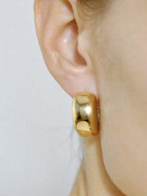LI MUMU Brass Smooth Geometric Minimalist Drop Earring 2