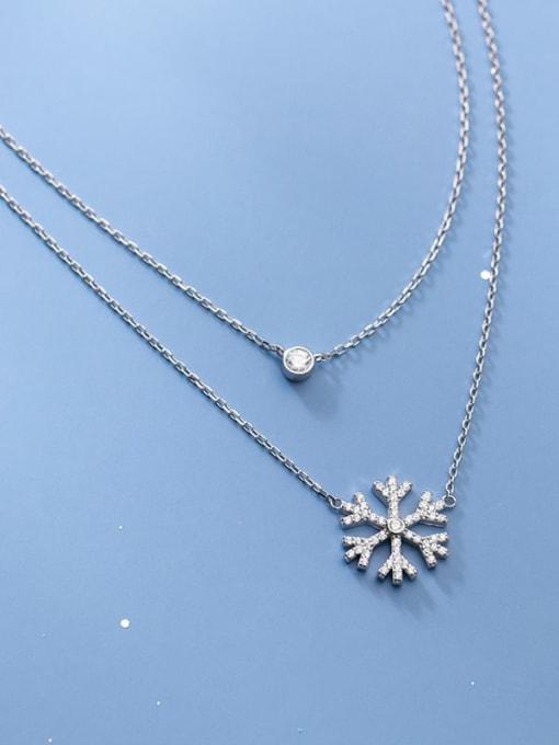 Rosh 925 Sterling Silver Cubic Zirconia Flower Minimalist Multi Strand Necklace