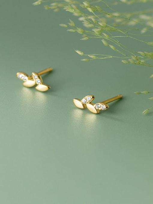 Rosh 925 Sterling Silver Cubic Zirconia Leaf Minimalist Stud Earring