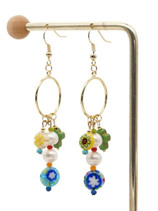 ZZ E200056D Stainless steel Freshwater Pearl Multi Color Glass beads Ethnic Long   Hook Earring