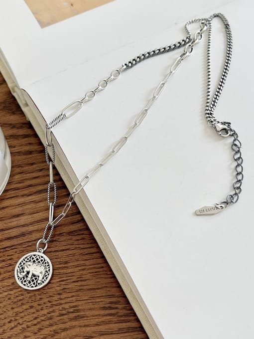 Boomer Cat 925 Sterling Silver Elephant Vintage Hollow Chain Necklace 2