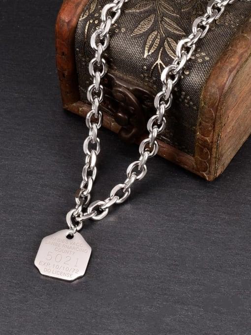 A TEEM Titanium Steel Letter Hip Hop Hollow Chain Necklace