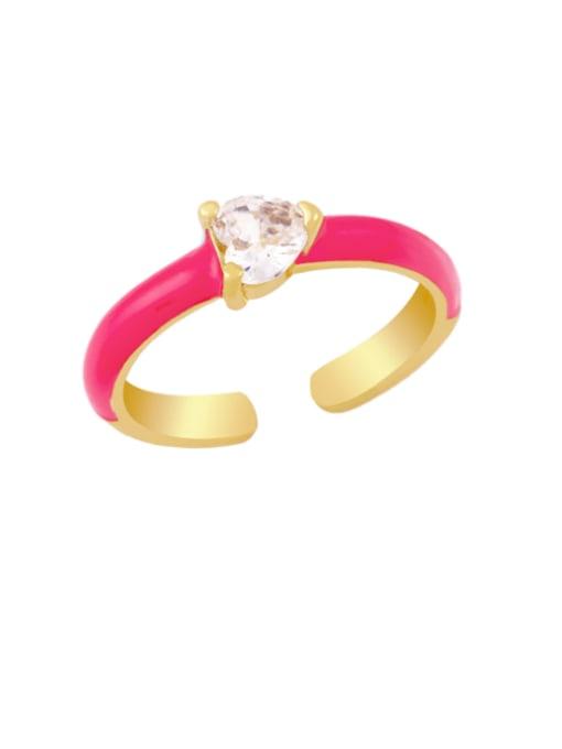 Rose red Brass Enamel Cubic Zirconia Heart Minimalist Band Ring