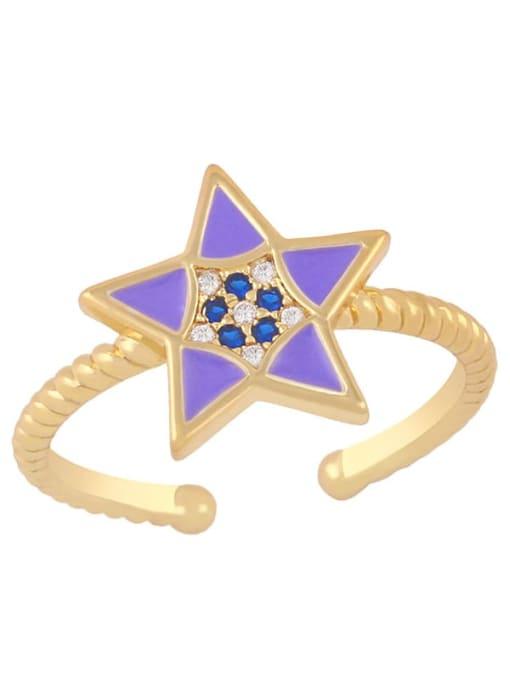 purple Brass Enamel Star Minimalist Band Ring