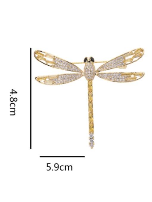 Luxu Brass Cubic Zirconia Dragonfly Minimalist Brooch 3
