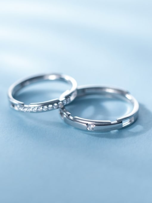 Rosh 925 Sterling Silver Rhinestone Geometric Minimalist Couple Ring 2