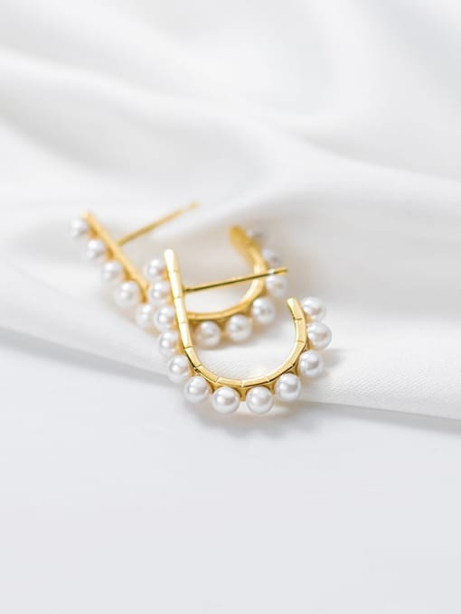 Rosh 925 Sterling Silver Imitation Pearl Geometric Minimalist Stud Earring 2