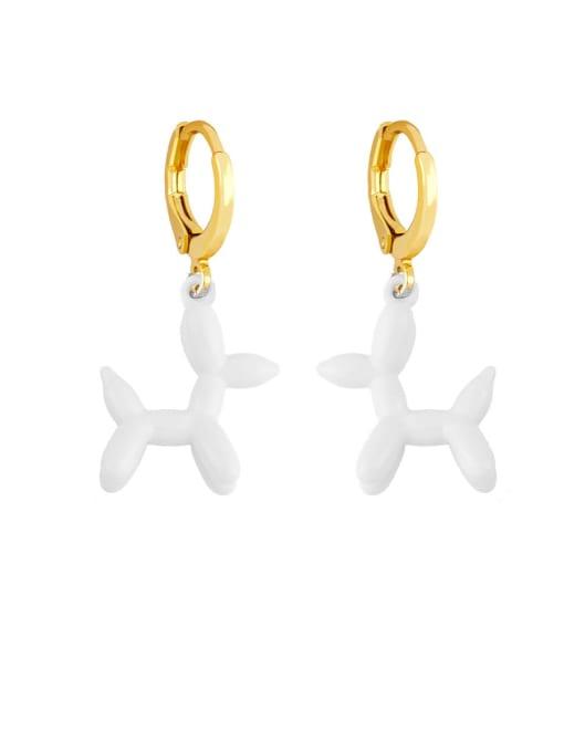 white Brass Enamel Dog Cute Huggie Earring