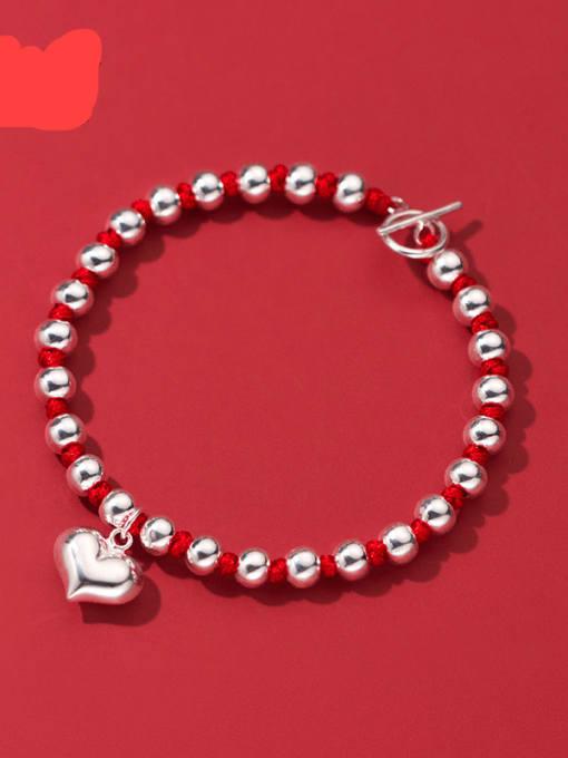 Rosh 925 Sterling Silver Bead Heart Vintage Beaded Bracelet 2