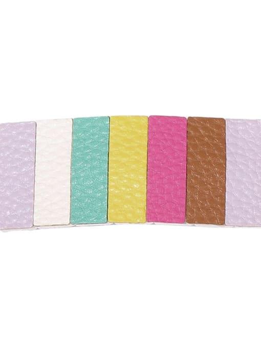 1 seven color banger Alloy Leather Cute Geometric  Multi Color Hair Barrette