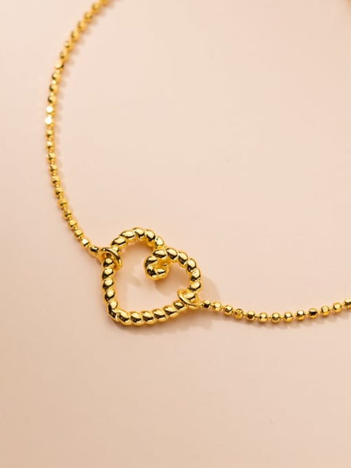 Rosh 925 Sterling Silver Hollow Heart Minimalist Beaded Bracelet 3