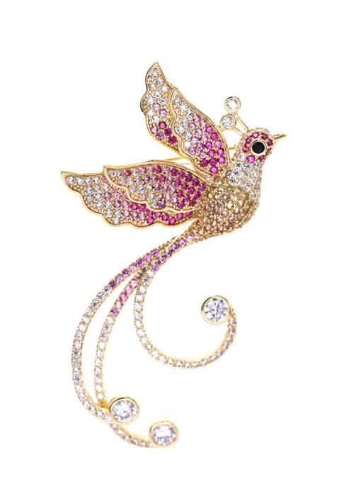 Luxu Brass Cubic Zirconia Bird Ethnic Brooch