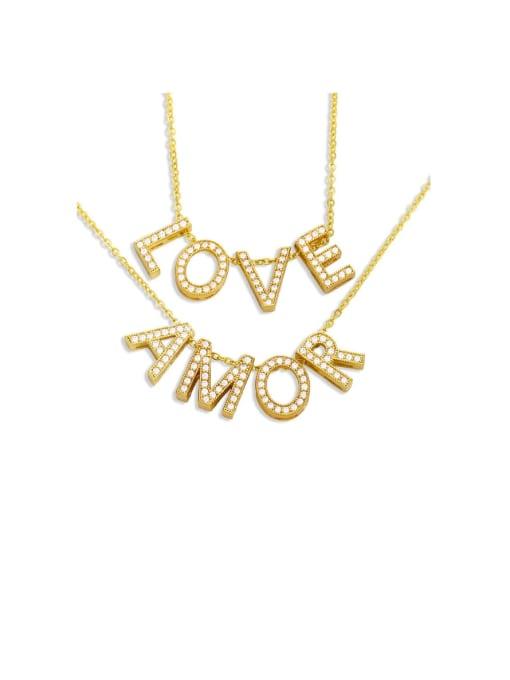 CC Brass Cubic Zirconia Simple LOVE letters Necklace