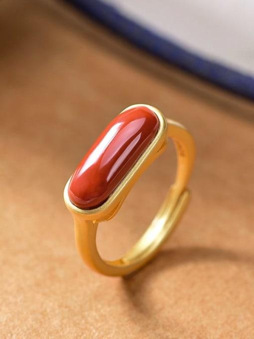 DEER 925 Sterling Silver Carnelian Geometric Minimalist Band Ring