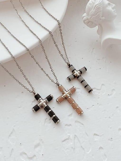 Open Sky Titanium Steel Cubic Zirconia Cross Minimalist Necklace 4