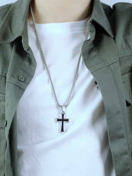 Open Sky Titanium Steel Enamel Cross Hip Hop Regligious Necklace 2