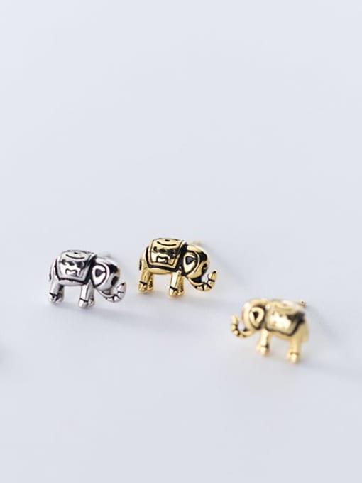 Rosh 925 Sterling Silver Elephant Vintage Stud Earring