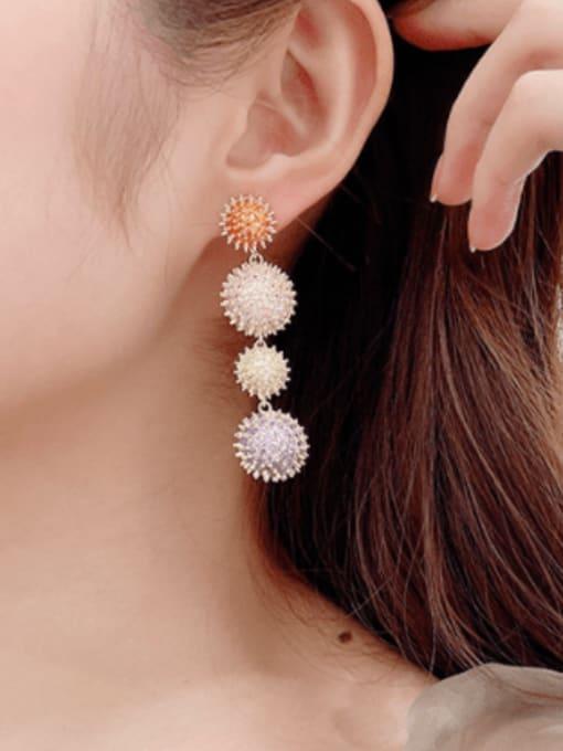 Luxu Brass Cubic Zirconia Geometric Luxury Drop Earring 1
