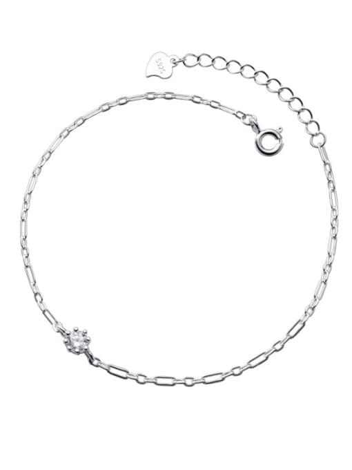 Rosh 925 Sterling Silver Rhinestone Round Minimalist Link Bracelet 3