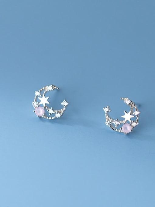 Rosh 925 Sterling Silver Cubic Zirconia Moon Cute Stud Earring 0