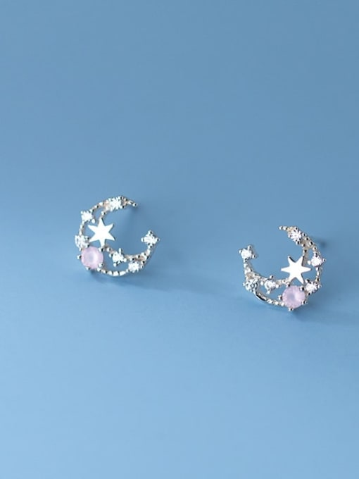 Rosh 925 Sterling Silver Cubic Zirconia Moon Cute Stud Earring