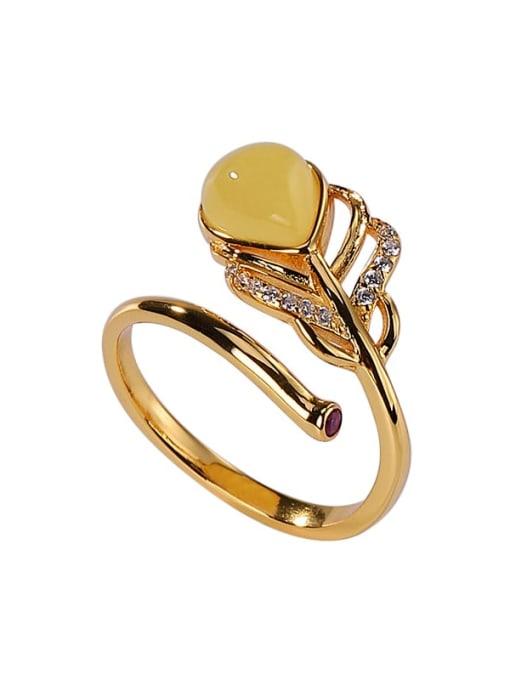 DEER 925 Sterling Silver Jade Leaf Vintage Band Ring